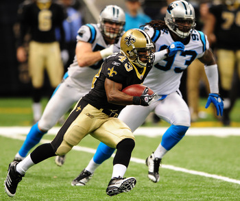 Saints RB Darren Sproles displaying his speed against the Panthers