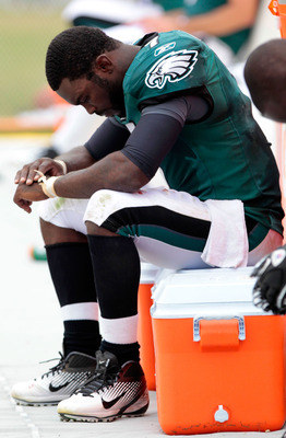 Vick left the game early with a hand injury
