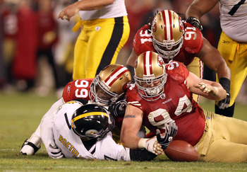 Justin Smith (94) and the 49ers defense will try make Drew Brees' visit to the Bay Area as unpleasant as it was for Big Ben in Week 15.