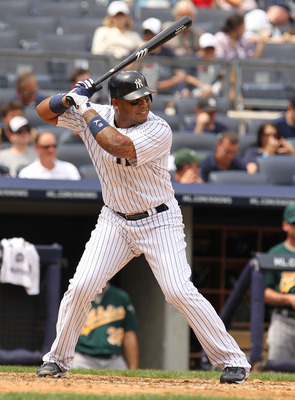 NEW YORK, NY - JULY 24:  Andruw Jones #18 of the New York Yankees in action against the Oakland Athletics  during their game on July 24, 2011 at Yankee Stadium in the Bronx borough of New York City.  (Photo by Al Bello/Getty Images)