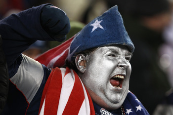 FOXBORO, MA - JANUARY 14:  A fan of the New England Patriots supports his team against the Denver Broncos during their AFC Divisional Playoff Game at Gillette Stadium on January 14, 2012 in Foxboro, Massachusetts.  (Photo by Al Bello/Getty Images)
