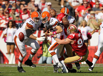 Forcing a fumble against the Cleveland Browns