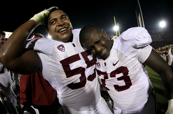 Jonathan Martin (no.55) with teammate Cameron Fleming (no.73).