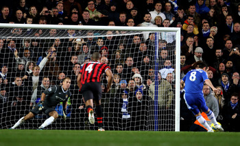 Frank Lampard nets the winning goal from the penalty spot