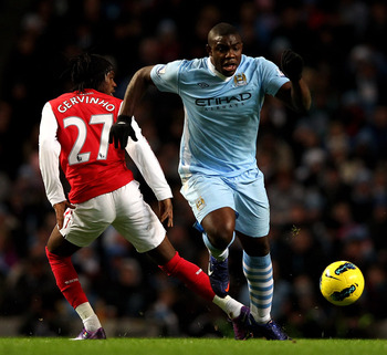 Richards storms past Arsenal's Gervinho