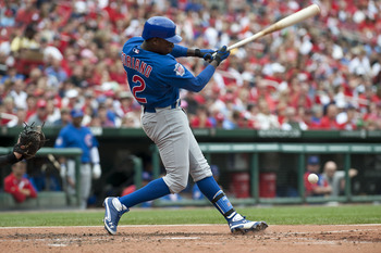 ST. LOUIS, MO - SEPTEMBER 25: Left fielder Alfonso Soriano #12 of the Chicago Cubs grounds out against the St. Louis Cardinals on September 25, 2011 at Busch Stadium in St Louis, MO. (Photo by Ed Szczepanski/Getty Images)
