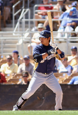 GLENDALE, AZ - MARCH 08:  Norichika Aoki #7 of the Milwaukee Brewers bats against the Los Angeles Dodgers during the spring training game at Camelback Ranch on March 30, 2012 in Glendale, Arizona.  (Photo by Christian Petersen/Getty Images)