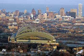 Aerial View of the City of Milwaukee with Miller Park in Foreground