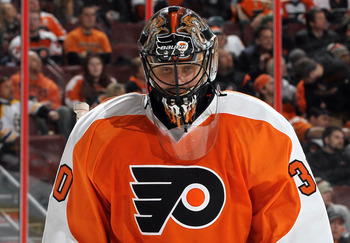 Ilya Bryzgalov appears dejected after allowing a goal in a shootout loss to the Boston Bruins last Sunday.