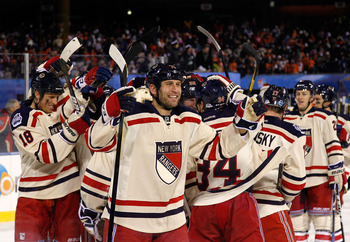 The New York Rangers celebrate at Citizens Bank Park after defeating the Flyers in the 2012 Winter Classic.
