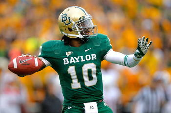 RG3 launching a pass to a Baylor wideout