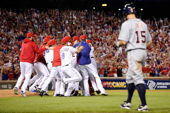 The Texas Rangers celebrate after their Game 6 victory over Detroit to clinch the ALCS and a trip to the World Series.
