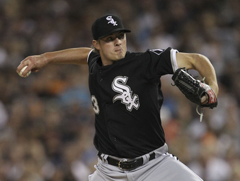 DETROIT - SEPTEMBER 04: Addison Reed #43 of the Chicago White Sox pitches in the fourth inning during the game against the Detroit Tigers at Comerica Park on September 4, 2011 in Detroit, Michigan.  (Photo by Leon Halip/Getty Images)