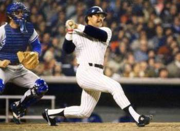 Reggie Jackson hits 3 home runs during Game 6 of the 1977 World Series.