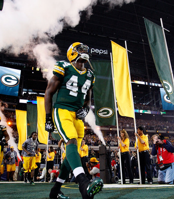 James Starks walks onto the field before Green Bay's 31-25 Super Bowl victory over Pittsburgh.