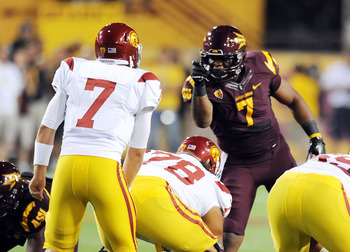 A feisty Vontaze Burfict calls out Matt Barkley at the line of scrimmage.