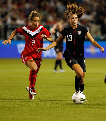 Alex Morgan in action during the last meeting between the teams