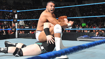 Jinder Mahal attacks Sheamus.