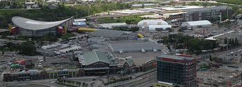 Scotiabank Saddledome and the adjacent Stampede Park, courtesy of the Wikimedia Commons.