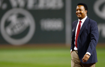 BOSTON, MA - SEPTEMBER 26:  Former Boston Red Sox player Pedro Martinez is honored during a ceremony for the All Fenway Park Team prior to the game against the Tampa Bay Rays on September 26, 2012 at Fenway Park in Boston, Massachusetts.  (Photo by Jared
