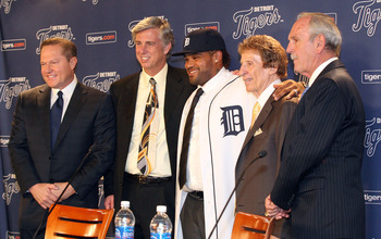 (Left to Right) Fielder's agent Scott Boras, Tigers GM Dave Dombrowski, Prince Fielder, Tigers owner Mike Ilitch and Tigers manager Jim Leyland