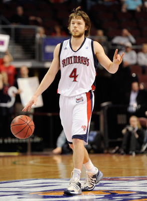 LAS VEGAS, NV - MARCH 06:  Matthew Dellavedova #4 of the Saint Mary's Gaels brings the ball up the court against the Santa Clara Broncos during a semifinal game of the Zappos.com West Coast Conference Basketball tournament at the Orleans Arena March 6, 20