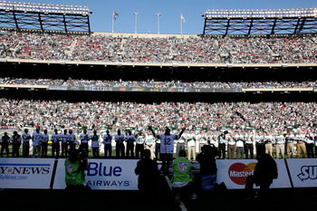 The 1968 Jets are honored for their Super Bowl III win in 2008.
