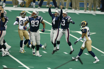 Adam Vinatieri rejoices after his winning kick.