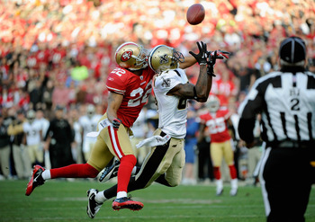 Marques Colton battles for the ball against the 49ers