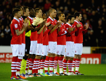 Forest players line up pre-game