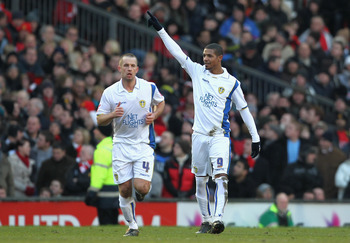 Jermaine Beckford scores for Leeds versus Man United