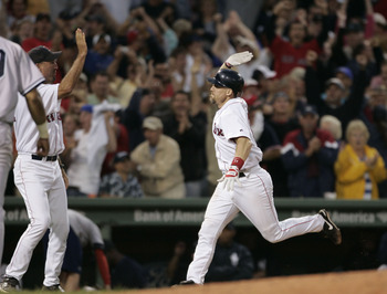 Bill Mueller celebrates a walk off home run against Mariano Rivera in July of 2004.