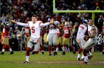 The Giants celebrate their last second field goal to win the game in overtime in the NFC Championship game.