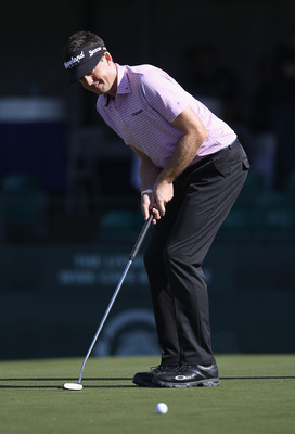 SCOTTSDALE, AZ - FEBRUARY 02:  Keegan Bradley putts on the 16th hole green during the first round of the Waste Management Phoenix Open at TPC Scottsdale on February 2, 2012 in Scottsdale, Arizona.  (Photo by Christian Petersen/Getty Images)