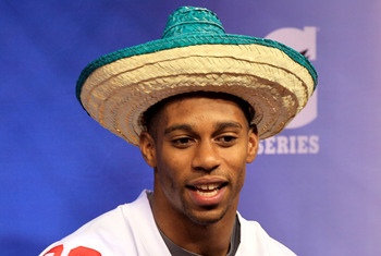 Victor Cruz looks awkward in a sombrero.  He also doesn't have a single postseason touchdown reception.