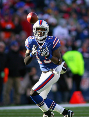 ORCHARD PARK, NY - DECEMBER 24:  Steve Johnson #13 of the Buffalo Bills makes catch in the second quarter against the Denver Broncos at Ralph Wilson Stadium on December 24, 2011 in Orchard Park, New York.  (Photo by Rick Stewart/Getty Images)