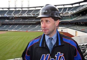NEW YORK - DECEMBER 02:  New York Mets chief operating officer Jeff Wilpon looks on during a media tour of Citi Field on December 1, 2008 in the Flushing neighborhood of the Queens borough of New York City. The Mets will play their first game in the new b