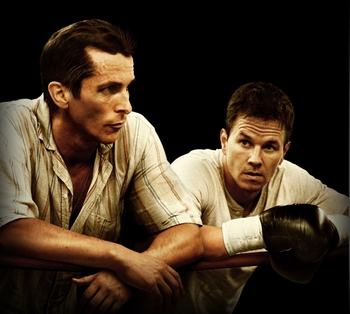 "Christian Bale (left), and Mark Wahlberg (right) in ""The Fighter"""