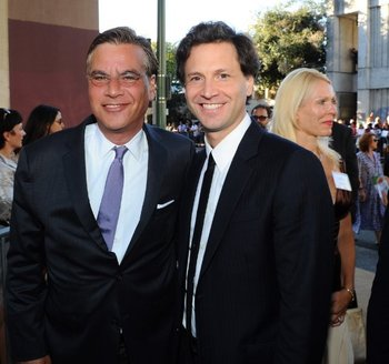 Screenwriter Aaron Sorkin (left), and director Bennett Miller (right)