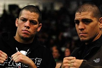 Nate (left) with brother Nick Diaz; photo cred: cagesideseats.com