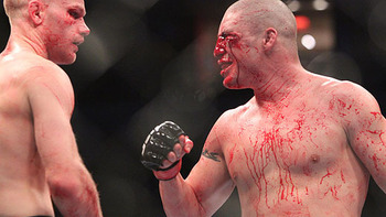 Martin Kampmann (left) with Diego Sanchez post-fight/ photo cred: Ken Pishna for MMAWeekly.com