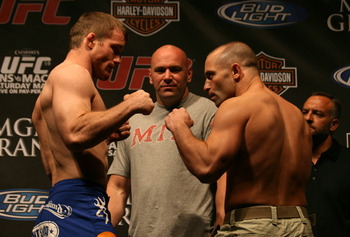 Matt Hughes (left) squaring off with Matt Serra/ photo cred: MMAJunkie.com