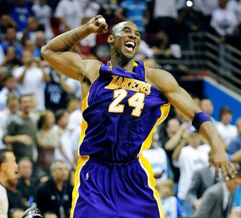 Kobe Bryant celebrates winning the 2009 NBA Finals.