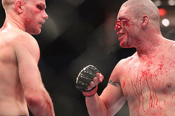 Martin Kampmann (left) with Diego Sanchez/ photo cred: Ken Pishna for MMAWeekly.com