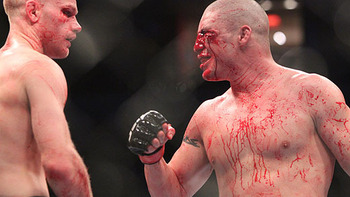 Kampmann (left) with Sanchez/ photo cred: Ken Pishna, MMAWeekly.com