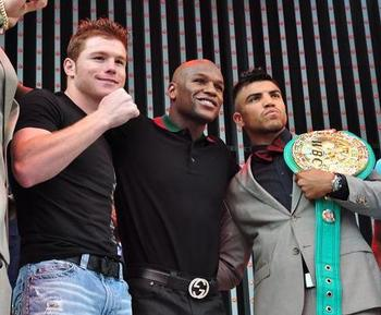 "(from left to right) Saul ""Canelo"" Alvarez, Floyd Mayweather, Victor Ortiz"