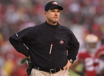 In his first year, Jim Harbaugh led the 49ers to the NFC Championship Game.
