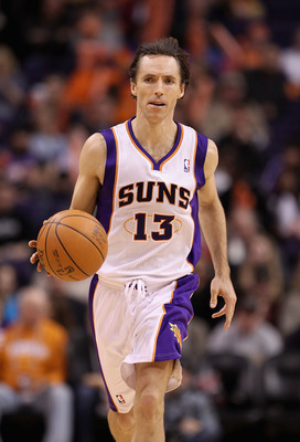 PHOENIX, AZ - JANUARY 12:  Steve Nash #13 of the Phoenix Suns in action during the NBA game against the Cleveland Cavaliers at US Airways Center on January 12, 2012 in Phoenix, Arizona.  NOTE TO USER: User expressly acknowledges and agrees that, by downlo