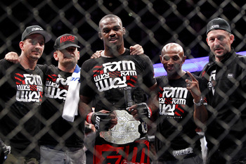 Jones following a title defense- Photo by Esther Lin/MMAfighting
