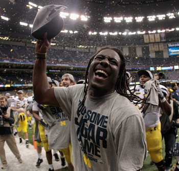 Michigan's Denard Robinson Celebrates Sugar Bowl Win